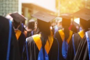 blurred image,shot of graduation hats during commencement success graduates of the university, Concept education congratulation. Graduation Ceremony ,Congratulated the graduates in University.