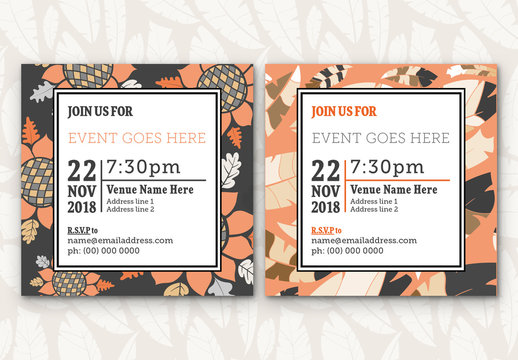 Feathers and Flowers Event Invitation Layouts