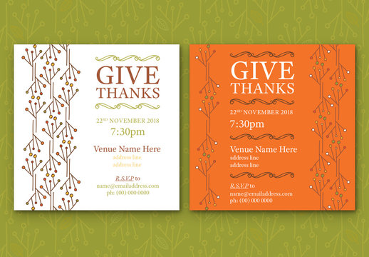Abstract Leaf Event Invitation Layouts 2