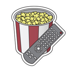 bucket with popcorn, corn snack, remote control,watching television, vector image, flat design, colorful sticker,