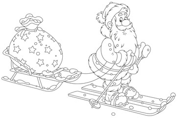 Santa Claus skiing and carrying his bag of Christmas gifts on his sledge