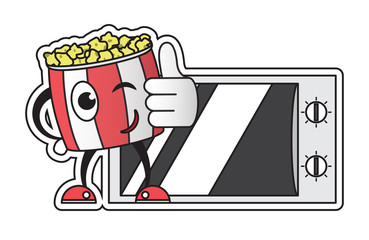 bucket with popcorn,cartoon character, corn snack,microwave cooking,home cooking, microwave and corn grain, vector image, flat design, colorful sticker,