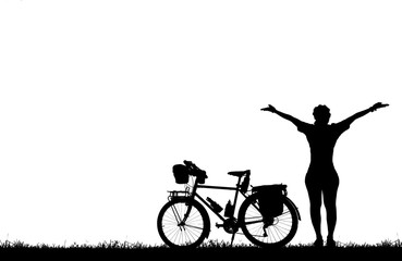Silhouette lady  and bike relaxing on white background