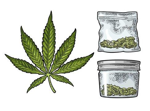 Glass jar and plastic bag for smoking cannabis. Engraving
