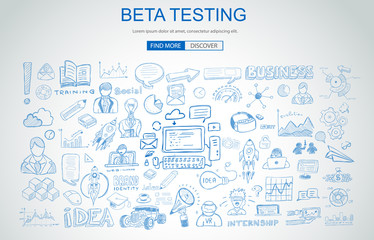 Beta Testing concept with Business Doodle design style: online audience, tester groups,test phases