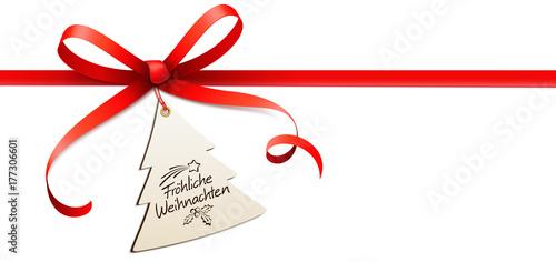 rote schleife mit weihnachtsbaum etikett und handschrift. Black Bedroom Furniture Sets. Home Design Ideas