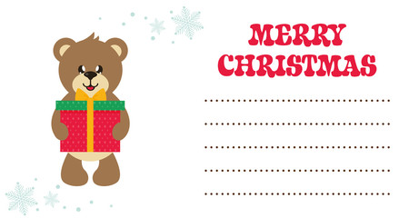 cartoon cute bear with gift christmas card