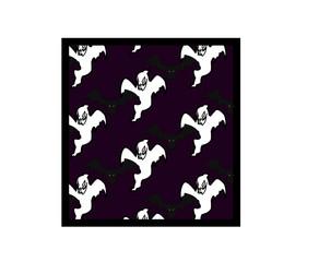 pattern black bats, white ghost on violet background