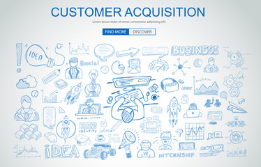 Customer Acquisition concept with Business Doodle design style: online presence, sales and offers