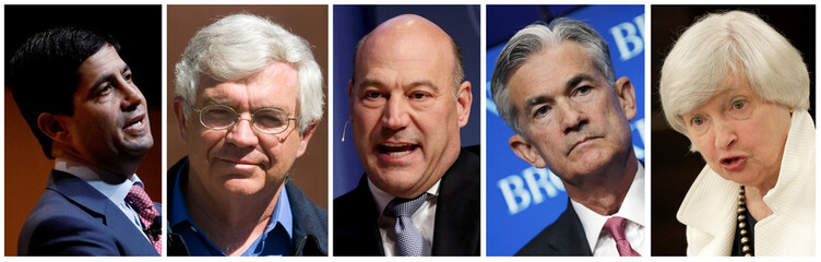 A combination photo of the five U.S. Federal Reserve Chair contenders: Kevin Warsh (L to R), John Taylor, Gary Cohn, Jerome Powell and present chair Janet Yellen in Washington