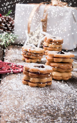 Christmas cookies, sweets on wooden table. Holiday roast. Celebration background.