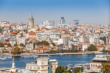 Far away tele view of a Galata tower district with various buildings, classical cityscape of Istanbul, Turkey