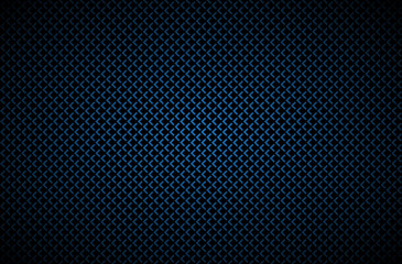Dark abstract background with blue corners, carbon fiber, vector illustration