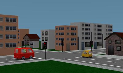 Straßenkreuzung mit Ampel, Autos und Häusern.