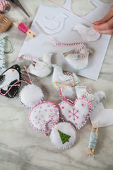 Handmade christmas decorations being made.