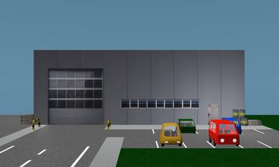 Betriebshalle mit Parkplatz, Ansicht von vorne