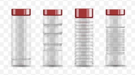 Vector set empty transparent glass jar bottle for water and juice. Template mockup. Plastic bottle