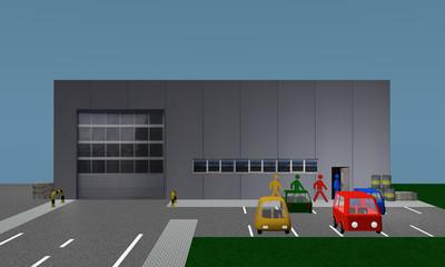 Betriebshalle mit Parkplatz in die Personen reingehen , Ansicht von vorne