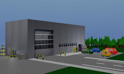 Betriebshalle in die Personen gehen mit Absperrung, Paletten und Fässern, sowie einen Parkplatz mit farbigen, parkenden Autos