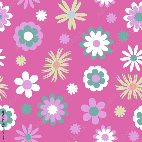 Cute Seamless Pattern With Cartoon Flowers On A Pink Background