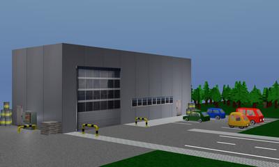 Betriebshalle mit Absperrung, Paletten und Fässern, sowie einen Parkplatz mit farbigen, parkenden Autos