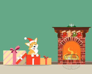 Puppy corgi presented for the new year. New Year of the dog. Vector illustration