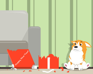 A funny dog of the Corgi breed ate a New Year's gift. New Year of the dog. Vector illustration