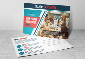 Blue and White Business Postcard Layout 2