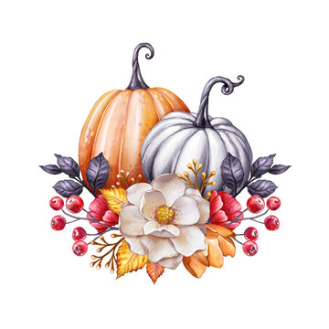 floral pumpkins, Thanksgiving watercolor illustration, autumn flowers, harvest, botanical fall decor, festive clip art isolated on white background