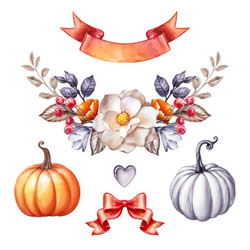 autumn floral garland, bouquet, botanical, red ribbon banner, pumpkins, bow, fall flowers, watercolor illustration, clip art isolated on white background