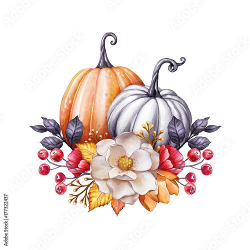 Free thanksgiving decor. Floral pumpkins watercolor illustration