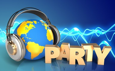 3d party sign world in headphones