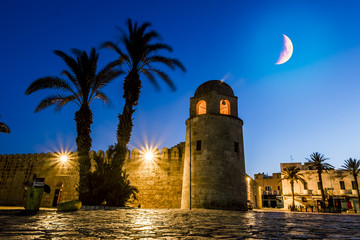 Fortress Ribat in Medina Sousse in the moonlit night