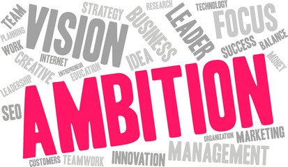 Ambition Word Cloud on a white background.