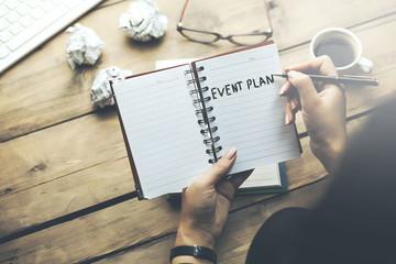 woman written event planing text