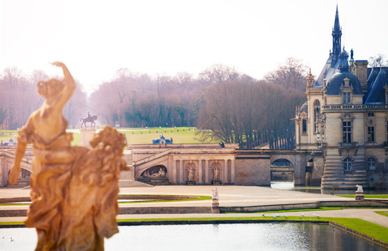 Romantic view of the Chateau de Chantilly, France