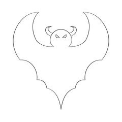 contour image of a bat. drawing for coloring. vector illustration of a Halloween theme