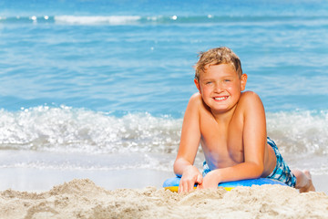 Nice boy beach summer vacation portrait