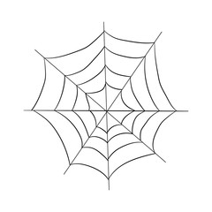 contour pattern of a web. drawing by hand. Halloween illustration