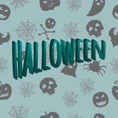3D inscription Halloween against the background of a seamless pattern with mystical characters. Vector illustration. Hand drawing
