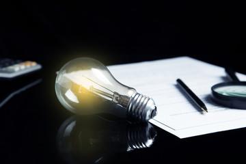 idea or light bulb with document