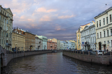 The River Moika in the city of St. Petersburg, historic houses, the view of the Moika River near the house where in the 18th century  lived Russian poet Pushkin.