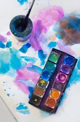 Nonfigurative watercolor painting in progress