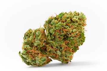 Close up of prescription medical marijuana strain AK47 flower on white background