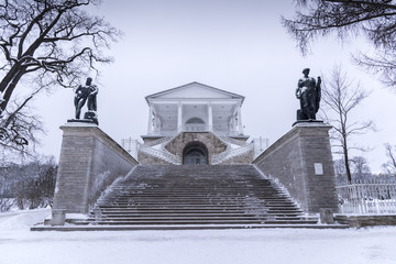 A view of the Cameron gallery in a winter day. Catherine Park in Tsarskoye Selo, Saint Petersburg