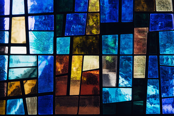 Stained glass window with abstract pattern