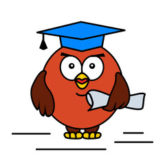 Academic cartoon owl. Vector illustration