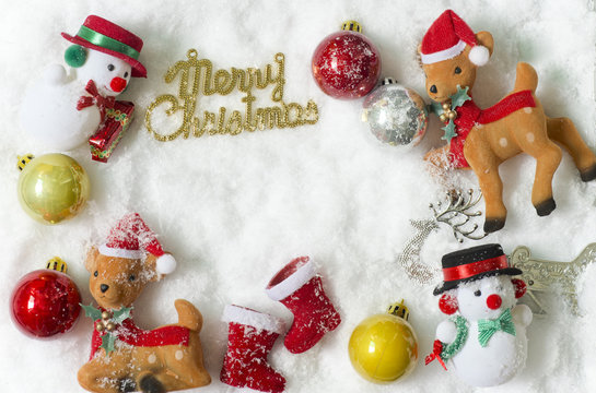 Christmas ornaments with copy space