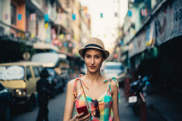 Beautiful Female Tourist in Bangkok