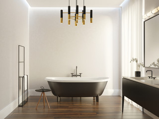 Black and white modern luxury bathroom